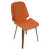 LumiSource Serena Mid-Century Modern Dining Chairs in Orange Fabric and Walnut Wood, Set of 2