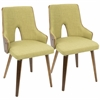 Stella Mid-Century Modern Padded Chair in Walnut and Green -Set of 2