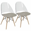 Tonic Mid-Century Modern Dining / Accent Chair in Grey -Set of 2
