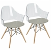 Tonic Flair Mid-Century Modern Dining / Accent Chair in Grey -Set of 2
