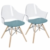 Tonic Flair Mid-Century Modern Dining / Accent Chair in Teal Blue -Set of 2