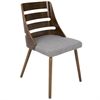 Trevi Mid-Century Modern Dining Chair in Grey Fabric and Walnut wood
