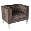 Valentina Contemporary Accent Chair in Brown Mohair Fabric & Acrylic Legs
