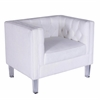 Valentina Contemporary Accent Chair in Bone White Mohair Fabric & Acrylic Legs