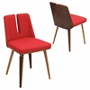 LumiSource Varzi Chair, Walnut / Red