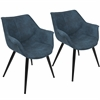 LumiSource Wrangler Contemporary Accent Chair in Blue, Set of 2