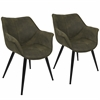 LumiSource Wrangler Contemporary Accent Chair in Green, Set of 2