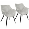 LumiSource Wrangler Contemporary Accent Chair in Light Grey, Set of 2