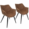 LumiSource Wrangler Contemporary Accent Chair in Rust, Set of 2