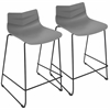 Arrow Contemporary Counter Stool in Black and Grey -Set of 2