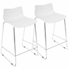 Arrow Contemporary Counter Stool in White -Set of 2