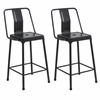 LumiSource Pair of Industrial Style Energy Counter Stools in Carbon Black Finish