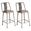 Pair of Industrial Style Energy Counter Stools in Cappuccino Finish