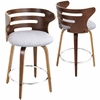 Cosini Counter Stool with Swivel, Walnut / Grey