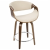Curvini Mid-Century Modern Counter Stool in Walnut Wood and Cream Fabric