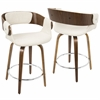Elisa Mid-Century Modern Counter Stool in Walnut and Cream
