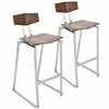 LumiSource Flight Contemporary Stainless Steel Counter Stool in Walnut Wood, Set of 2