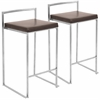 LumiSource Fuji Stackable Counter Stool  Brown, Set of 2