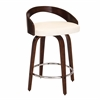 Grotto Mid-Century Modern Counter Stool with Walnut Wood and White PU Leather, Cherry / White