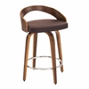 LumiSource Grotto Mid-Century Modern Counter Stool with Walnut Wood and Brown PU Leather