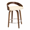 LumiSource Grotto Mid-Century Modern Counter Stool with Walnut Wood and Cream PU Leather