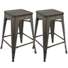 LumiSource Oregon Industrial Stackable Counter Stool with Antique Frame and Espresso Wood -Set of 2