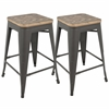 LumiSource Oregon Industrial Stackable Counter Stool with Grey Frame and Brown Wood -Set of 2