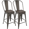 LumiSource Oregon Industrial High Back Counter Stool with Antique Frame and Espresso Wood -Set of 2
