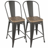 LumiSource Oregon Industrial High Back Counter Stool with Grey Frame and Brown Wood -Set of 2