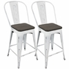LumiSource Oregon Industrial High Back Counter Stool with Vintage White Frame and Espresso Wood