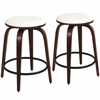 LumiSource Porto Counter Stools with Swivel  Cherry / White, Set of 2