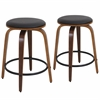 LumiSource Porto Counter Stools with Swivel  Walnut / Brown, Set of 2