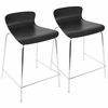Woodstacker Stackable Contemporary Counter Stools in Black - Set of 2