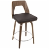 Trilogy Mid-Century Modern Counter Stool in Walnut Wood and Brown PU