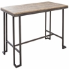 Roman Industrial Counter Table with Wooden Top and Antique Frame