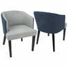 Ashland Contemporary Dining / Accent Chair in Light Grey and Blue