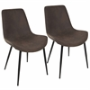 Duke Industrial Dining Chair in Black and Espresso -Set of 2