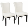 Olivia Contemporary Dining Chair in Espresso Wood and Cream Velvet -Set of 2