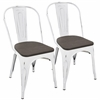 LumiSource Oregon Dining Chair with Vintage White Frame and Espresso Wood -Set of 2