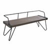 LumiSource Stefani Industrial Bench in Antique Metal and Walnut Wood