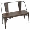 LumiSource Oregon Dining Bench, Antique / Espresso