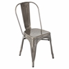 LumiSource Oregon Stackable Dining Chair  Brushed Silver, Set of 2
