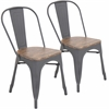 LumiSource Oregon Stackable Dining Chair  Grey / Wood, Set of 2