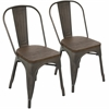 LumiSource Oregon Stackable Dining Chair - Set Of 2, Antique / Espresso