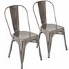 Oregon Stackable Dining Chair  Brushed Silver, Set of 2