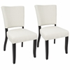Vida Contemporary Dining Chair with Nailhead Trim in Cream - Set of 2