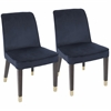 Zora Contemporary Dining Chair in Navy Blue Velvet -Set of 2