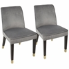 Zora Contemporary Dining Chair in Silver Velvet -Set of 2