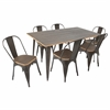 Oregon 7pcs Dining Set, Espresso Wood / Antiqued Metal Frame