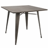 "Oregon 36"" Industrial Farmhouse Dining Table in Antique Metal and Espresso Bamboo"